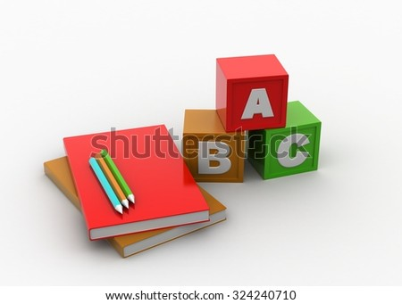 Color cubes with book and pencil