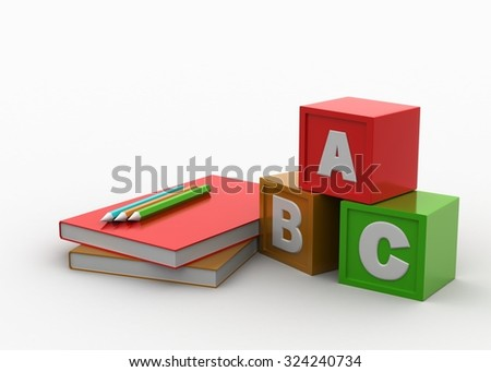 Color cubes with book and pencil - stock photo