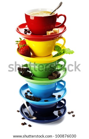 Color cups on a white background - stock photo