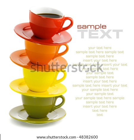 Color cups on a white background. With sample text