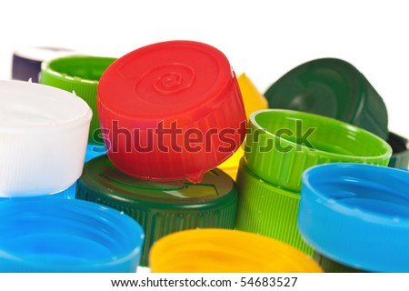 Color cups on the white background