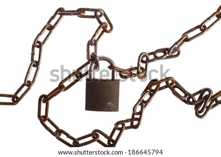 Color detail of some rusty chains and a lock, on white - stock photo