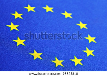 Color detail of the European Union flag - stock photo