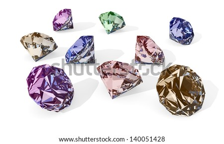 color diamonds - stock photo