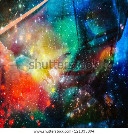 color digital painted image portrait men face in space - stock photo
