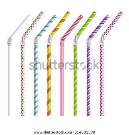 Color drinking straws - stock photo