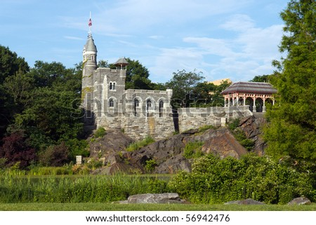 Color DSLR image of Belvedere Castle in Central Park, New York City, shot across the Great Lawn, a popular tourist destination. Horizontal orientation with copy space for text. - stock photo