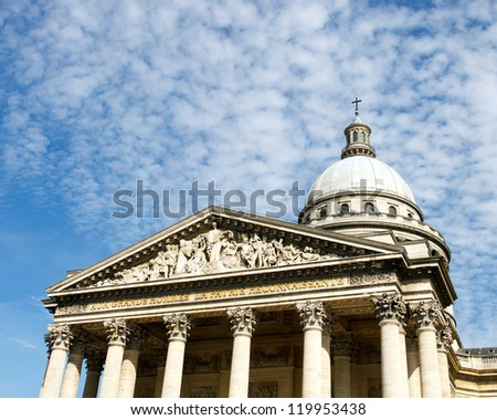 Color DSLR image of Pantheon in Paris, France with a blue sky background.  Ancient, landmark monument is popular touist destination. Horizontal with copy space for text