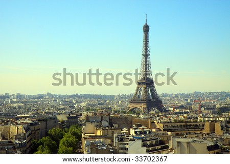 Color DSLR image of the landmark, tourist destination Eiffel Tower, Paris, France, with the skyline of Paris in the foreground and background. Horizontal with copy space for text