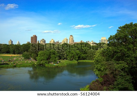 Color DSLR landscape picture of Turtle Pond in Central Park, New York City.  The park is a massive urban oasis, popular with tourists and locals.  Horizontal orientation with copy space for text - stock photo