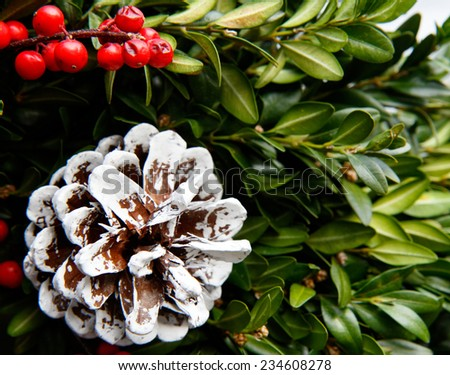 Color DSLR picture of festive Christmas holiday wreath with green holly, boxwood, pine cone and red berries.  The decoration is in horizontal orientation and is good for background.   - stock photo