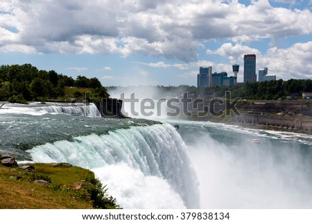 Color DSLR stock wide angle image of Niagara Falls, showing American Falls and Canadian side; horizontal with copy space for text