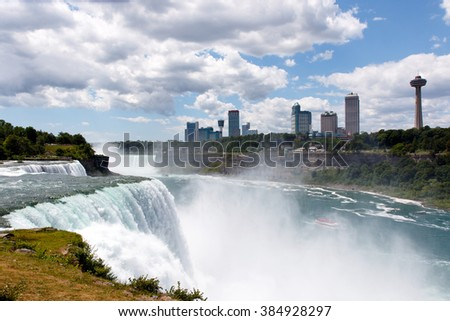 Color DSLR stock wide angle stock image of Niagara Falls, showing American Falls and Canadian side; horizontal with copy space for text