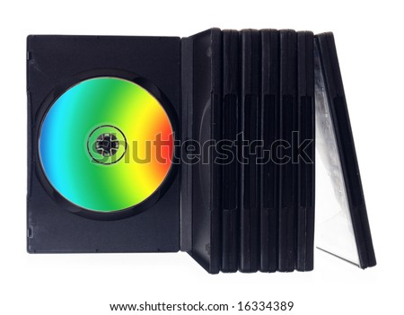 color DVD disk on white - stock photo