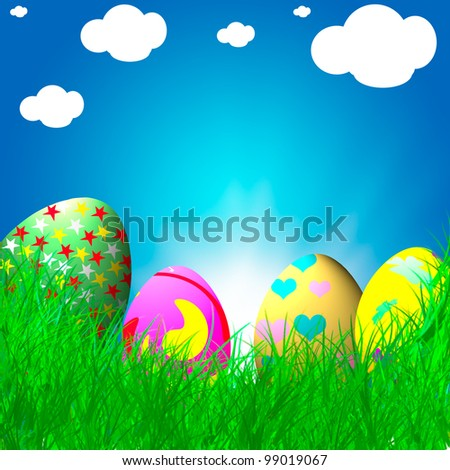 color easter eggs over blue background with sun flare