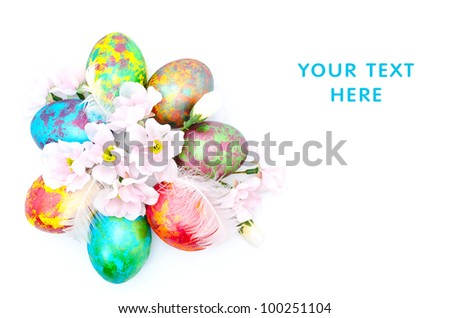 Color Easter eggs with flowers isolated on a white background - stock photo