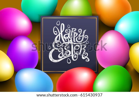 Color eggs happy easter lettering modern calligraphy, art