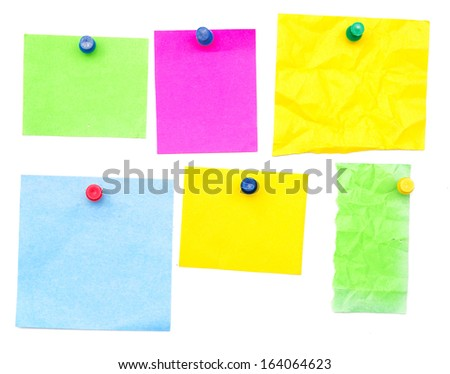 color empty notes isolated on white