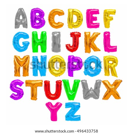 Color english alphabet from balloons on a white background. holidays and education