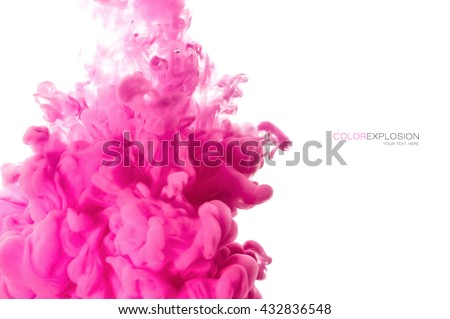 Color explosion. Closeup acrylic ink in water isolated on white with copy space for text - stock photo
