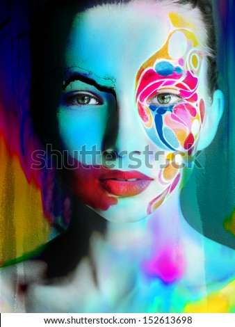 color face art woman face close up portrait - stock photo
