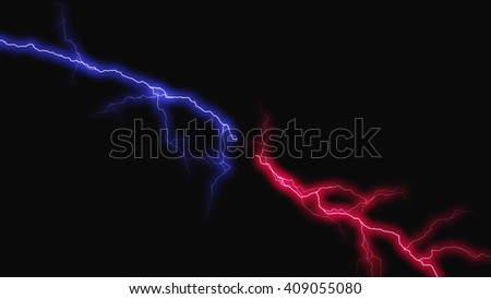 Color fantasy lightning sparks on a black background