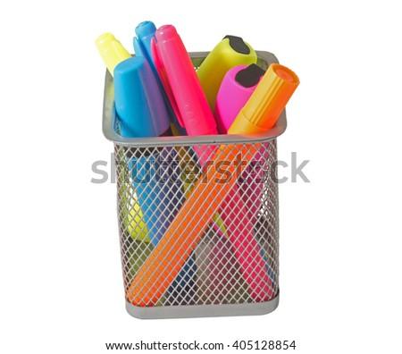 Color felt-tip pens over white background - stock photo