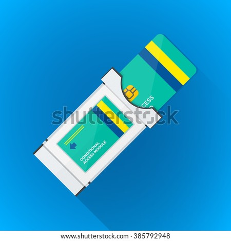 color flat design satellite conditional-access module chip smart card illustration long shadow isolated blue background  - stock photo