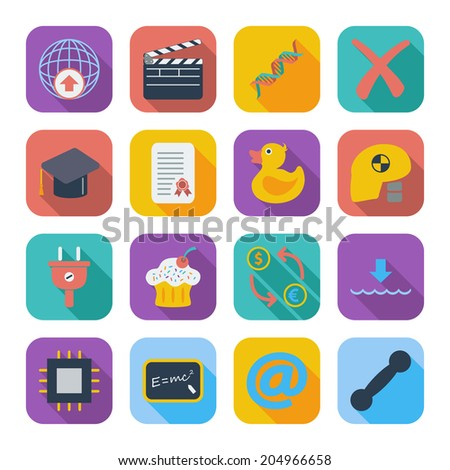 Color flat icons for Web Design and Mobile Application.  - stock photo