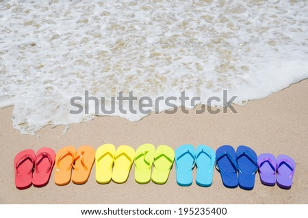 Color flip flops on sandy beach by the ocean on in sunny day - stock photo