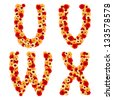 Color flower font from gerber flowers isolated. Letter U, V, W, X - stock photo