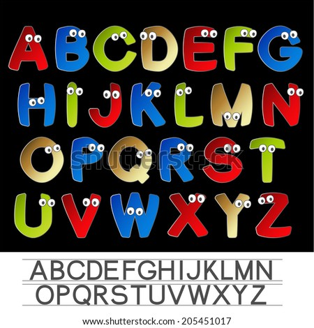 color font alphabet with eyes
