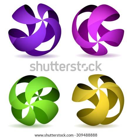 Color four striped wireframe spheres. - stock photo