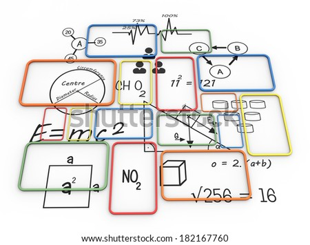 Color frames with formulas as learning concept - stock photo