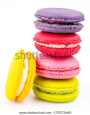 Color ful macaroon on white background