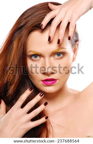 Color-full make-up. Stage face-art. - stock photo