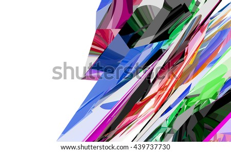 Color geometric pattern. 3d render illustration. Copyspace - stock photo