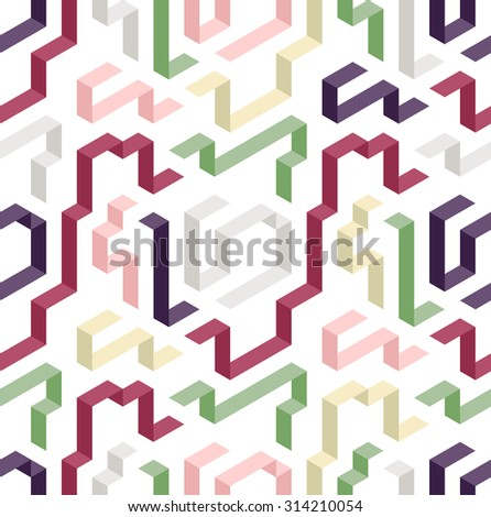 Color geometric shape pattern. Three dimensional shapes on white background. Abstract technology texture.