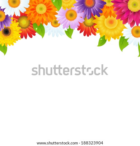 Color Gerbers Flower Frame With Green Leaves - stock photo