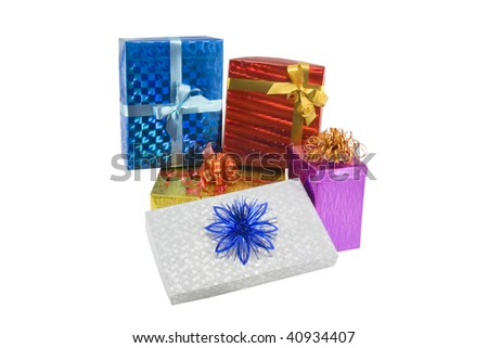 Color gift boxes isolated on the white