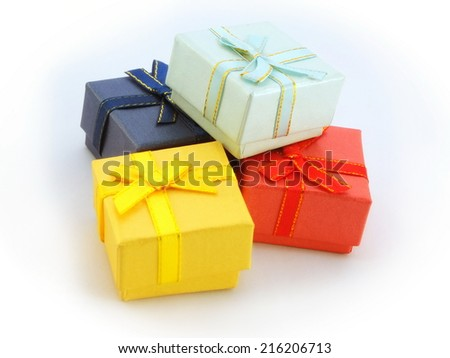 color gift boxes with bows and ribbons.