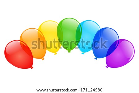 Color glossy balloons with place for text. Raster version. - stock photo