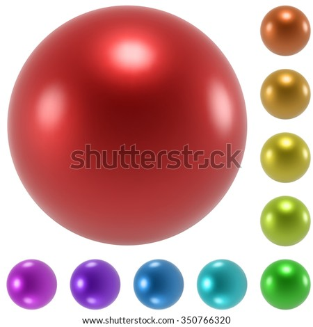 Color glossy spheres set isolated on white background. - stock photo
