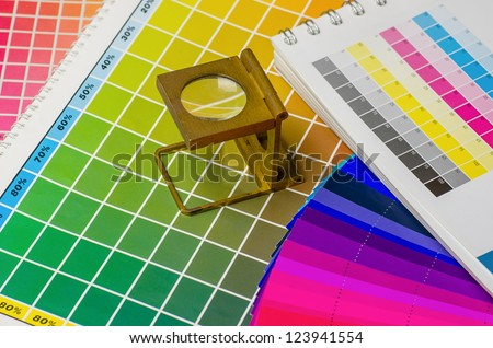 color guide and color fan with linen tester - stock photo