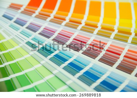 Color guide spectrum swatch samples rainbow - stock photo
