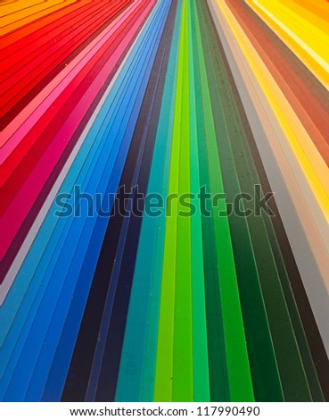 Color guide spectrum swatch samples rainbow on white background - stock photo