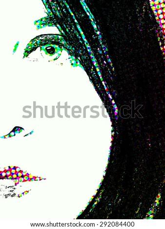 Color Half Tone Face Sketch - stock photo