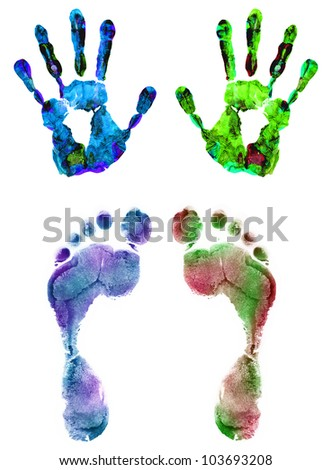 Color hand and foot prints isolated on white - stock photo