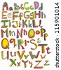 Color hand drawn alphabet, illustration - stock vector