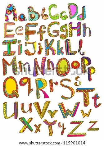 Color hand drawn alphabet, illustration - stock photo